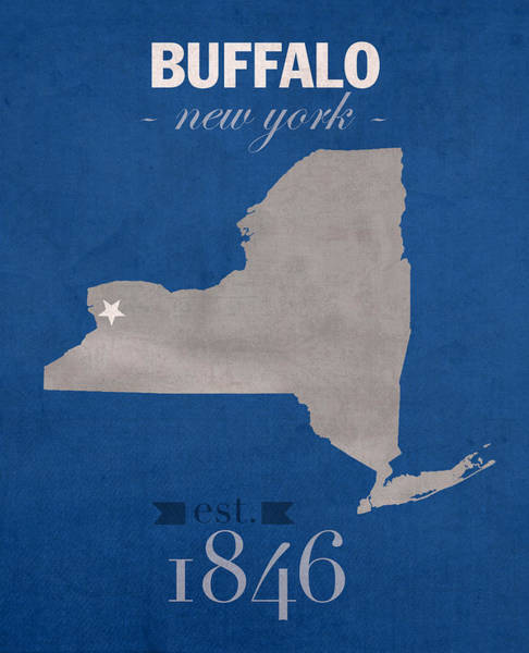 Buffalo Mixed Media - University At Buffalo New York Bulls College Town State Map Poster Series No 022 by Design Turnpike