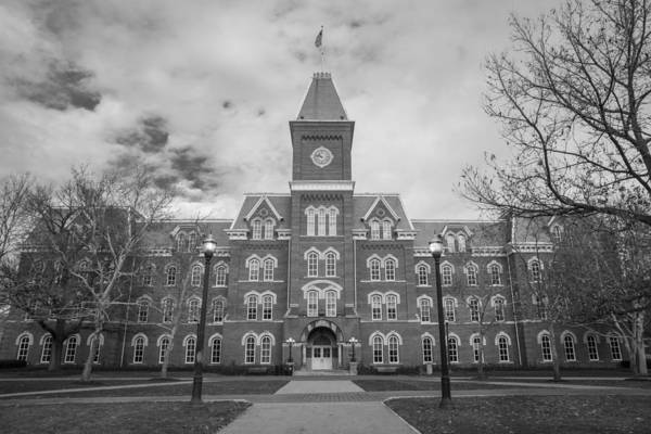 Ohio State University Photograph - University Hall Black And White by John McGraw