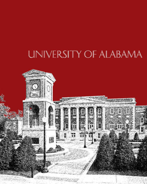 Tides Digital Art - University Of Alabama #2 - Dark Red by DB Artist