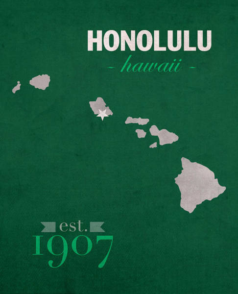 Hawaii Mixed Media - University Of Hawaii Rainbow Warriors Honolulu College Town State Map Poster Series No 044 by Design Turnpike