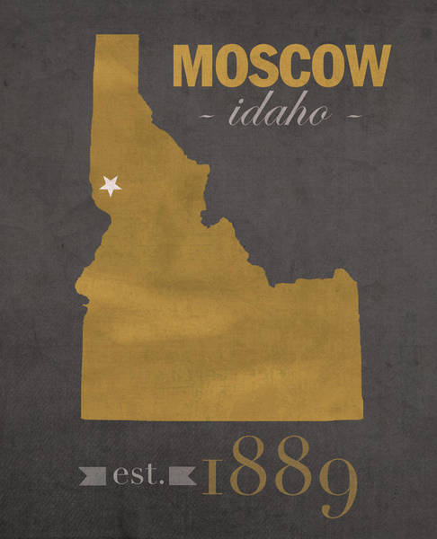 Moscow Mixed Media - University Of Idaho Vandals Moscow College Town State Map Poster Series No 046 by Design Turnpike
