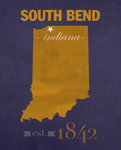 Irish Mixed Media - University Of Notre Dame Fighting Irish South Bend College Town State Map Poster Series No 081 by Design Turnpike
