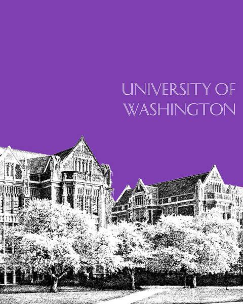 Wall Art - Digital Art - University Of Washington 2 - The Quad - Purple by DB Artist