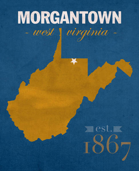 West Virginia Wall Art - Mixed Media - University Of West Virginia Mountaineers Morgantown Wv College Town State Map Poster Series No 124 by Design Turnpike