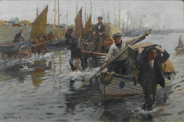 Newlyn Painting - Unloading The Boats by Celestial Images