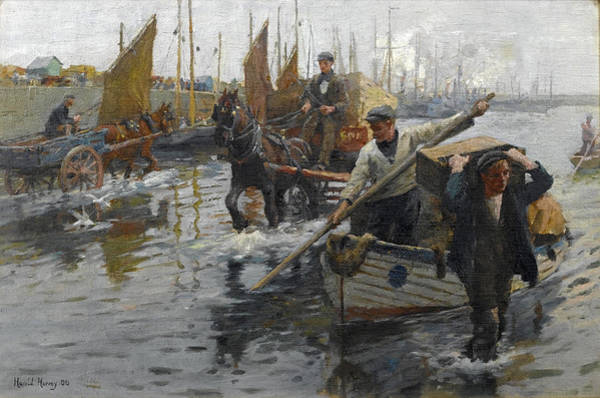 Newlyn Painting - Unloading The Boats. Newlyn Harbour by Harold Harvey