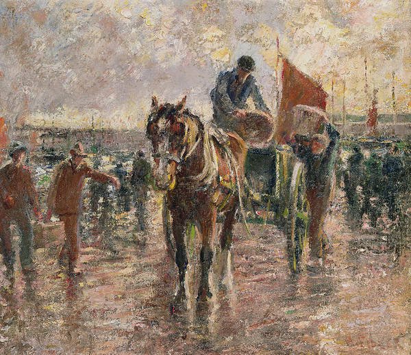 Chestnut Horse Painting - Unloading The Catch by Harry Fidler