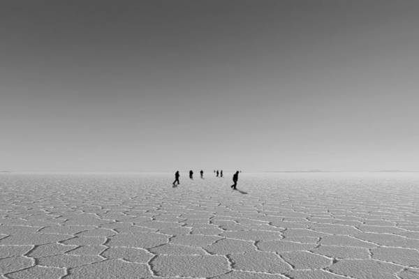 People Walking Photograph - Unrecognizable People Walking In Desert by Win-initiative