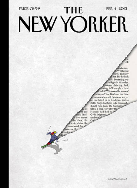 Skiing Painting - New Yorker February 4th, 2013 by Birgit Schoessow