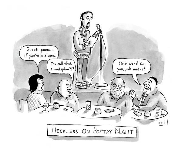Poet Drawing - New Yorker June 11th, 2007 by Bob Eckstein