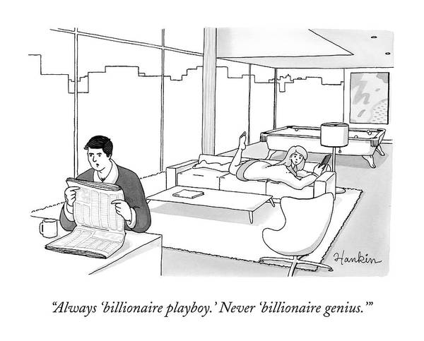 At Home Drawing - Always 'billionaire Playboy.' Never 'billionaire by Charlie Hankin