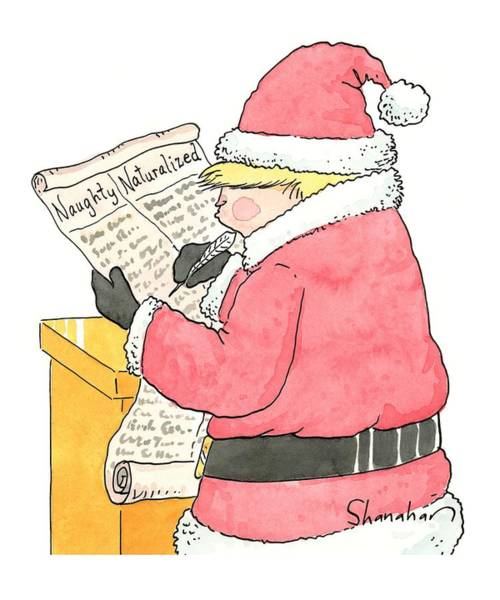 December 19th Drawing - New Yorker December 19th, 2016 by Danny Shanahan