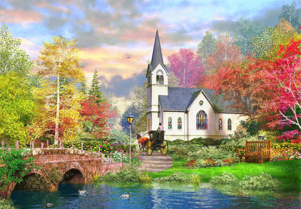 English Cottage Photograph - Autumnal Church by MGL Meiklejohn Graphics Licensing