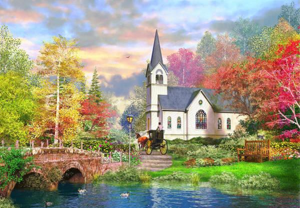 Chapel Bridge Photograph - Autumnal Church by MGL Meiklejohn Graphics Licensing