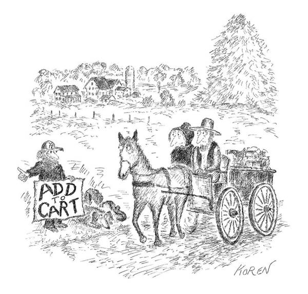 Cart Drawing - New Yorker September 12th, 2016 by Edward Koren
