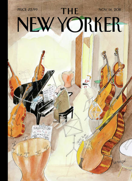 Music Painting - New Yorker November 14th, 2011 by Jean-Jacques Sempe