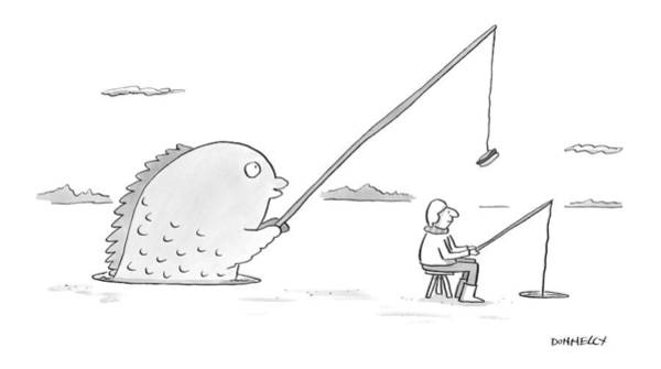 Fishing Drawing - New Yorker January 30th, 2017 by Liza Donnelly