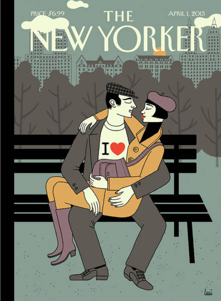News Painting - New Yorker April 1st, 2013 by Luci Gutierrez