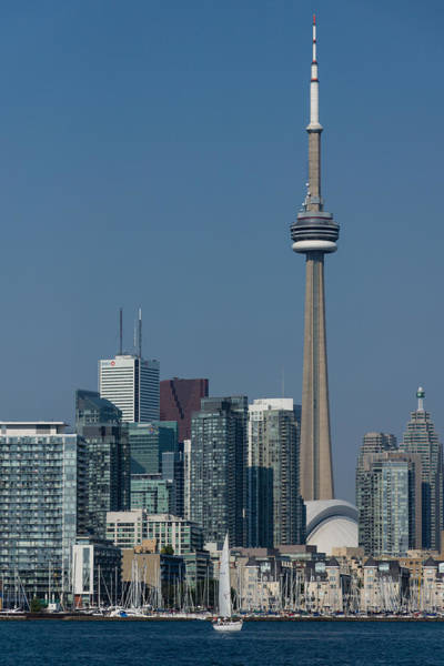 Up Close And Personal - Cn Tower Toronto Harbor And Skyline From A Boat Art Print