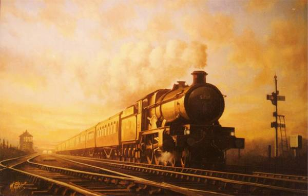 Vintage Train Painting - Up Express To Paddington by Mike Jeffries