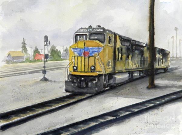 Diesel Trains Painting - U.p. Locomotive by William Reed