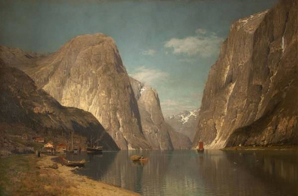 Norwegian Painting - Up The Sogne Fjord, Near Gudangen, 1876 by Adelsteen Normann