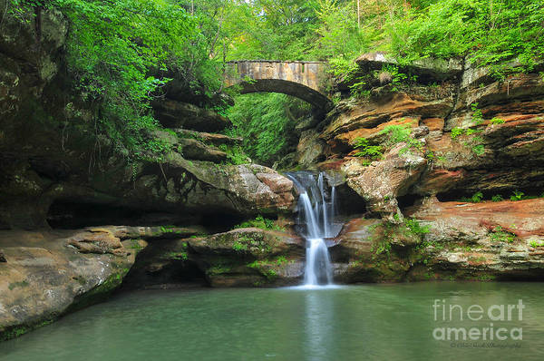 Photograph - D10a-113 Upper Falls At Old Mans Cave Hocking Hills Photo by Ohio Stock Photography
