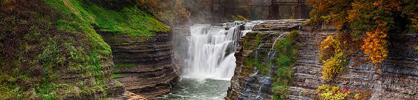Letchworth Photograph - Upper Falls Wide by Peter Chilelli