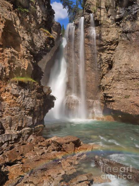 Upper Waterfall At Johnston Canyon Art Print