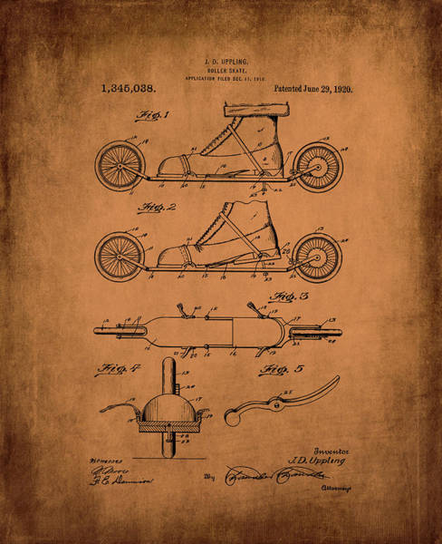 Digital Art - Uppling 1920 Roller Skates Antiqued by Lesa Fine