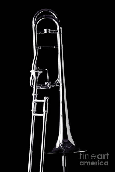 Photograph - Upright Rotor Tenor Trombone On Black In Sepia 3465.01 by M K Miller