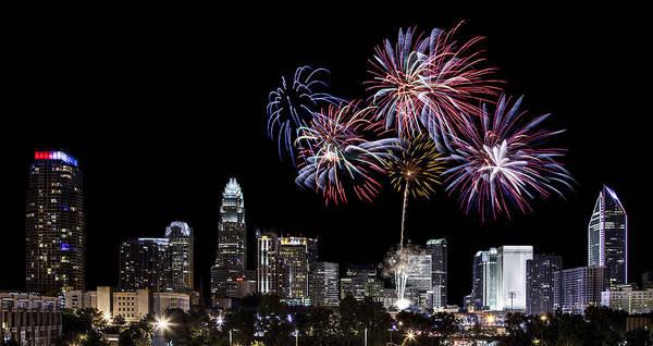 Charlotte Nc Wall Art - Photograph - Uptown Fireworks 2014 - Pano by Chris Austin