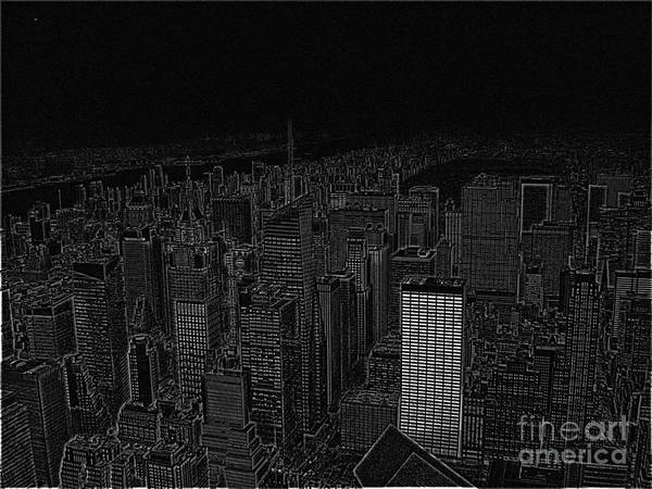 The Empire State Building Digital Art - Uptown Nyc White On Black by Meandering Photography
