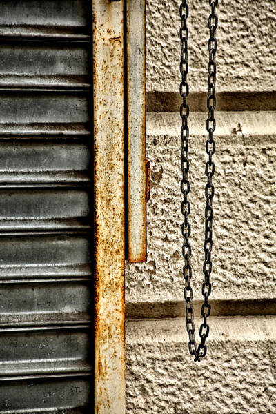 Chain Link Photograph - Urban Abstract by Karol Livote