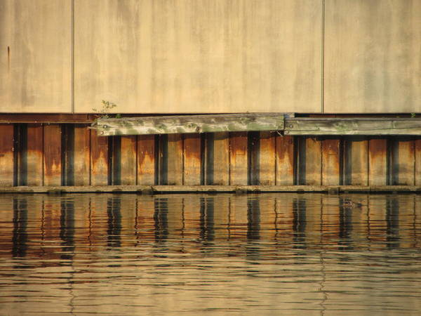 Photograph - Urban Abstract River Reflections by Anita Burgermeister