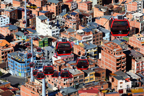 Photograph - Urban Cable Cars Above La Paz Bolivia by James Brunker