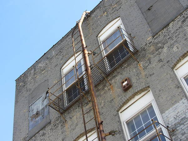 Photograph - Urban Decay Grey Wall Ladder by Anita Burgermeister