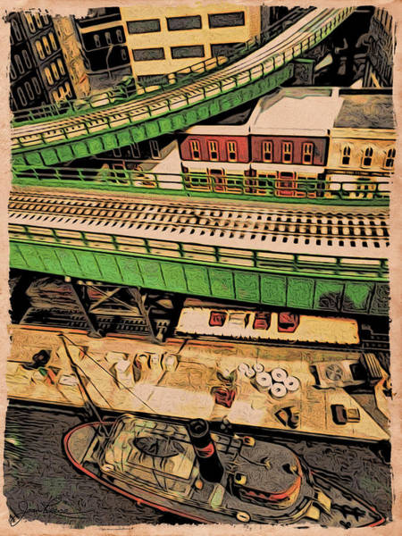 Drawing - Urban Dock by Joan Reese