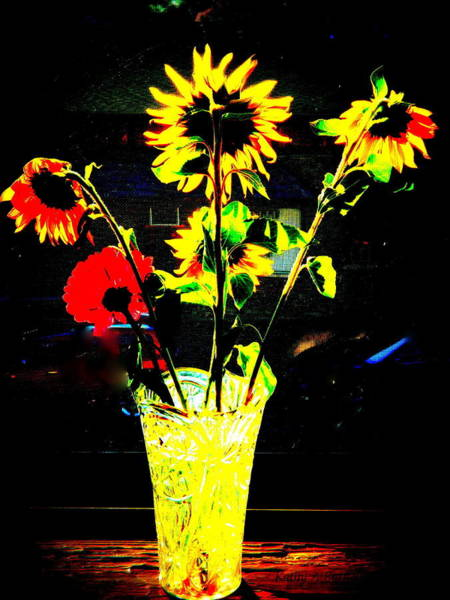 Sunflowers In A Vase Photograph - Urban Garden by Kathy Barney