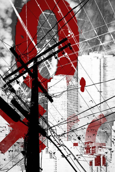 Vertical Line Digital Art - Urban Grunge Red by Melissa Smith