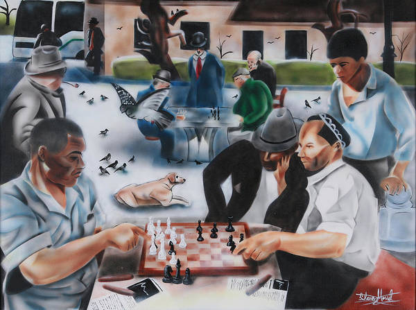 Chess Club Painting - Urban Moment 3 - Chess At The Park by Shawn Morrel
