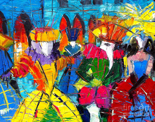 Blue Bonnet Wall Art - Painting - Urban Story - The Carnival 2 by Mona Edulesco