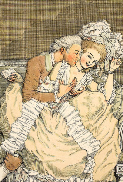 Flirting Drawing - Urgent Love by Konstantin Andreevic Somov
