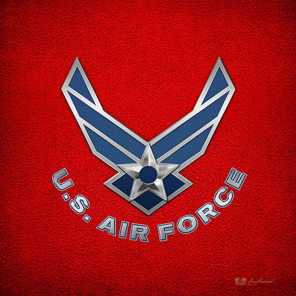Digital Art - U. S. Air Force  -  U S A F Logo On Red Leather by Serge Averbukh