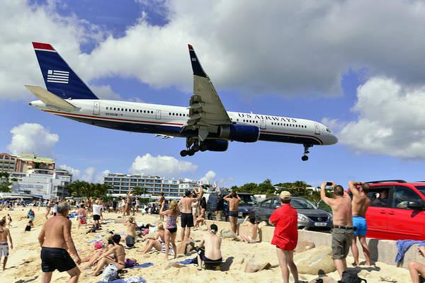 Photograph - Us Airways Landings In St Maarten by Matt Swinden