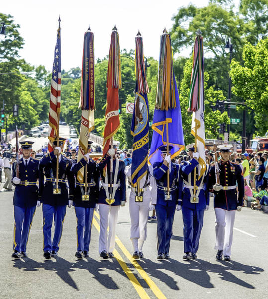 Gay Pride Flag Photograph - Us Armed Forces Color Guard by John Jack