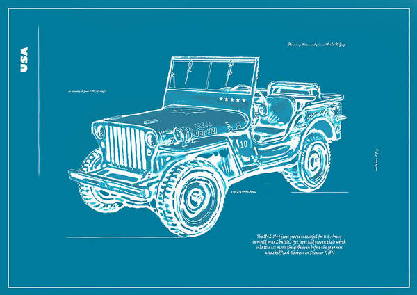 Jeep Wall Art - Drawing - Us Army Jeep In World War 2 Art Sketch Poster-2 by Kim Wang