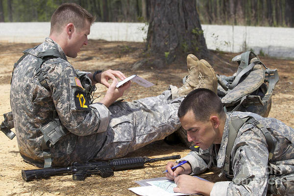 Wall Art - Photograph - U.s. Army Rangers Map Out Their Route by Stocktrek Images