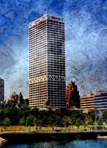 Digital Art - Us Bank Gas Building W Metal by Anita Burgermeister