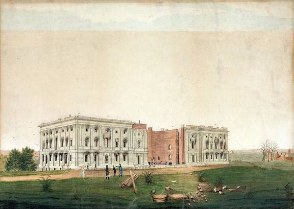 Us Capitol Photograph - Us Capitol After 1814 Burning by Library Of Congress